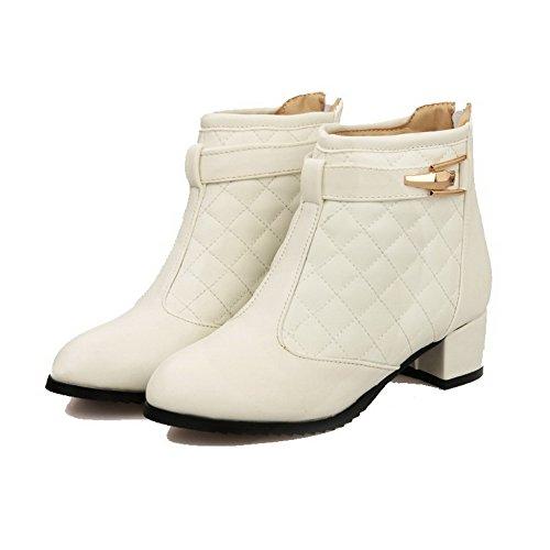 Amoonyfashion Mujeres Mid Top Zipper Material Suave Low Heels Round Botas Con Punta Cerrada Beige