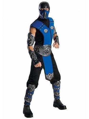 [Mens Deluxe Mortal Kombat Subzero Costume STD] (Sub Zero Costumes)