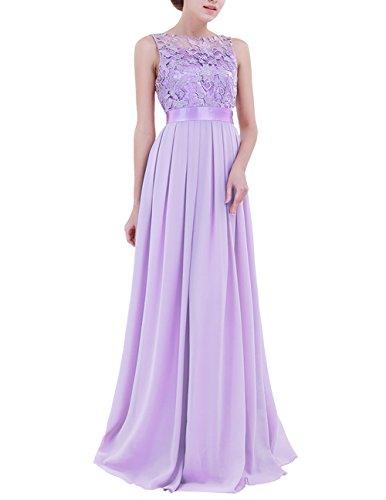 Crochet Lavender - YiZYiF Women Crochet Lace Wedding Bridesmaid Formal Gown Prom Party Maxi Dress Lavender 14