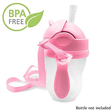 3-in-1 Straw Sippy Cup Conversion Kit for Comotomo Baby Bottle Weighted Straw, Pink 5 Ounce and 8 Ounce