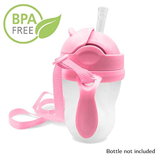 3-in-1 Straw Sippy Cup Conversion Kit for Comotomo Baby Bottle, 5 Ounce and 8 Ounce (Weighted Straw, Pink) ()