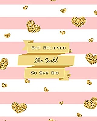 she believed she could so she did 2019 weekly monthly planner academic student planner calendar schedule organizer and journal notebook with happiness with glittering pink hearts vol 6