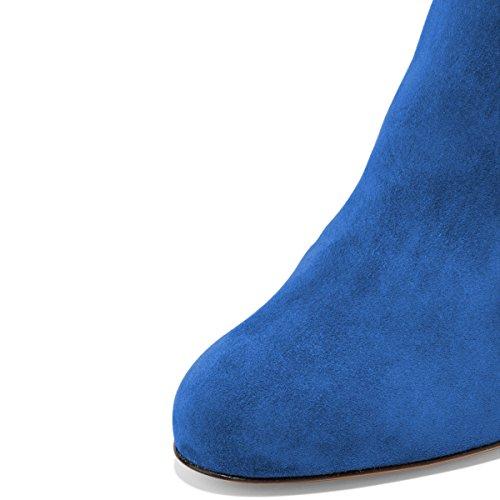 Fsj Damesmode Ronde Neus Enkellaarsjes Lage Hak Faux Suede Comfortabele Wandelschoenen Maat 4-15 Us Royal Blue