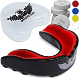 UK Warrior Premium Gum Shield Mouth Guard - For Rugby, Boxing, MMA, Muay Thai, Karate, Judo & Contact Sports - BPA Free With Denture Tablets For Sterile Use! (Black & Red, Adult (6 Years Old))