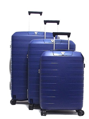 Roncato set tre trolley viaggio, Box 5510-19 trolley cabina+trolley medio+trolley grande rigidi in polipropilene, colore navy