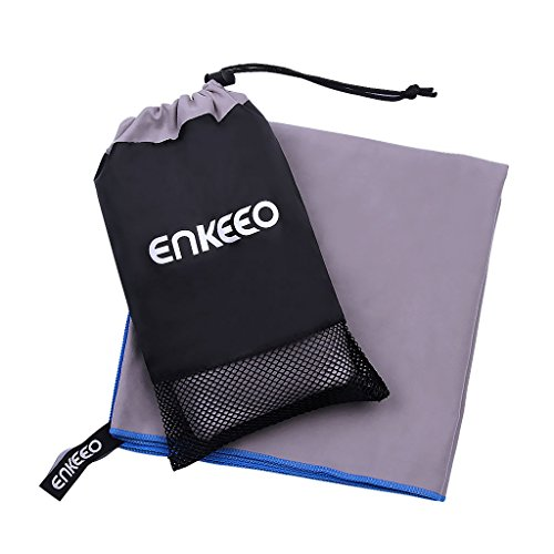 Enkeeo Microfiber Camping Towel with 1 Hanging Snap Loop, 1 Mesh Bag, Quick Dry and Versatile, Great for Gym, Exercise, Travel, Beach, Sports, Hiking, Swimming, Backpacking, Grey