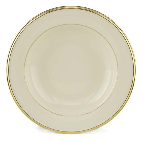 Fine China Rimmed Soup Bowl - Lenox Eternal Gold Banded Ivory China Pasta Bowl/Rim Soup