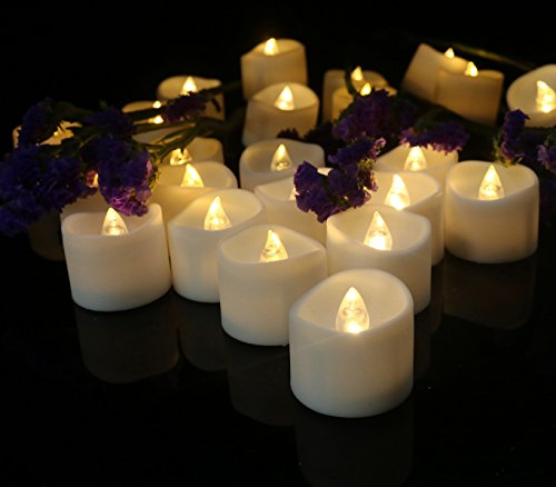 Cozeyat 24pcs Soft Warm White Battery Tea Lights, Romantic Flameless LED Candles for Wedding Receptions, Ceremony, Bridal Shower, Dinner Table Setting for Proposal, Honeymoon Travel ( with petals )