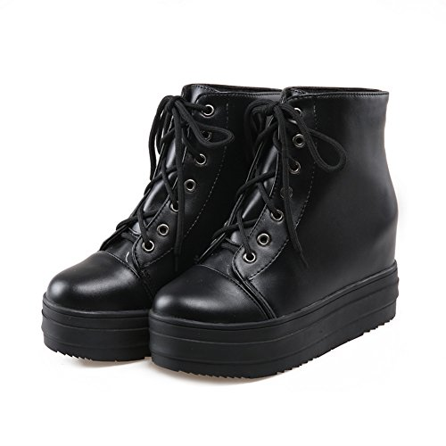 BalaMasa Womens American Muffin Buttom Lace-Up Platform Imitated Leather Boots Black EZiDELBp