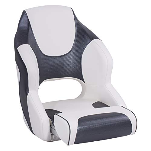 North Captain M2 Flip Up Boat Seat with Bolster,Bucket Seat,Captain Seat,White/Charcoal
