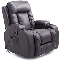 HOMCOM Luxury Faux Leather Heated Vibrating Massage Recliner Chair with Remote - Dark Brown