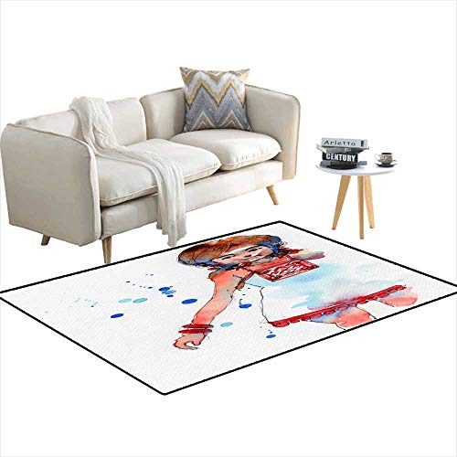 Extra Large Area Rug Watercolor Painting Illustration Set of Girl in White Hmong Dress Handrawn on Paper 4