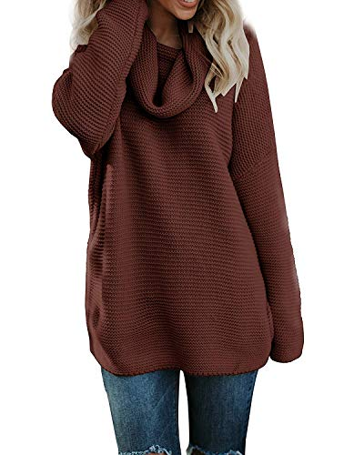 Liyuandian Womens Cowl Neck Sweaters Long Sleeve Chunky Turtleneck Sweater Knit Oversized Pullover by Liyuandian