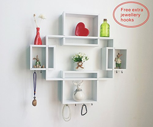 HAO Set of 5 Cubes,Free Extra Jewellery Hooks Interlocking Wall Shelf, Intersecting Squares Wooden Floating Shelf, Wall Mounted Horizontally or Vertically Display Shelves,White