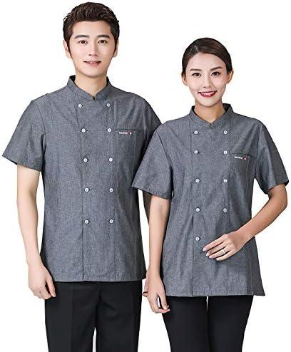 XRRa&XF Unisexo Mujeres Hombre Verano Manga Corta Camisa de Cocinero Transpirable Chaquetas de Chef Uniforme Cocina Restaurante Occidental,XL: Amazon.es: Deportes y aire libre