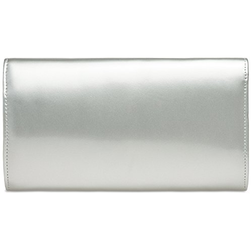 for Extraordinary Patent Clutch TA407 Silver made Leather Women Elegant Bag CASPAR of Evening XA6Zq