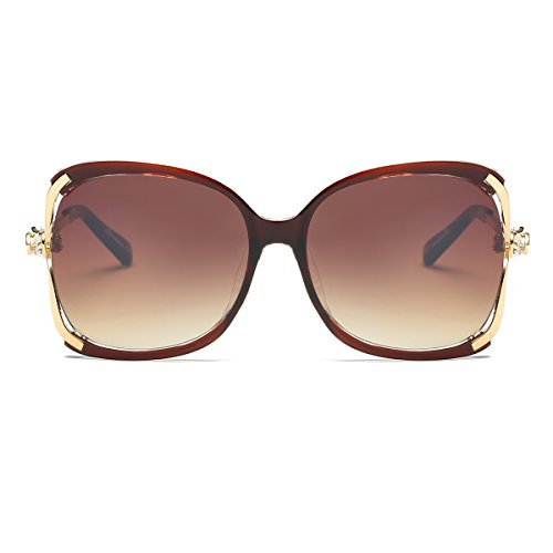 Amomoma Classic Crystal Women Sunglasses UV Protection Oversized Shades AM2001 Brown Frame/Gradient Brown - Frame Sunglasses Crystal