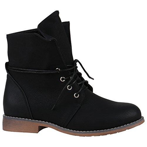 Stiefelparadies Damen Schnürstiefeletten mit Blockabsatz Basic Flandell Schwarz Bernice