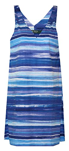 Ralph Lauren Watercolor Blues Signature Sleepshirt / Cover-up (Medium, Shades of Blue, Purple White, Seafoam in a Watercolor Print)