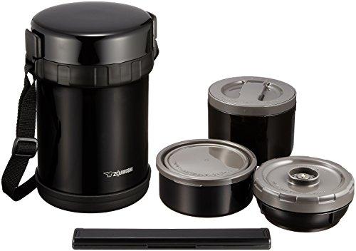 象印マホービン(ZOJIRUSHI) 保温 ステンレス 弁当箱 ランチジャー 茶碗 約3杯分 約 1.2合 電子レンジ 対応 ブラック SL-GH18-BA