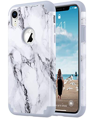 ULAK iPhone XR Case Marble, Slim Fit Hybrid Soft Silicone Hard Back Cover Anti Scratch Bumper Design Protective Case for Apple iPhone XR 6.1 inch 2018, Marble