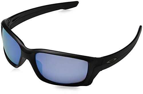 Oakley Men's Straightlink Iridium Rectangular Sunglasses, Matte Black w/Prizm Deep Water Polarized, 61 mm
