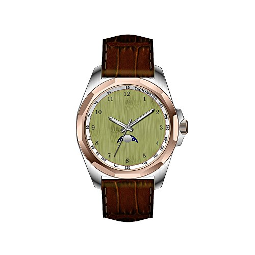 AIMS Christmas gift Mens gold Personalized Unique Fashion Design Waterproof Wrist Watch Bamboo Toast in Moss Green Wood Grain Look Watch