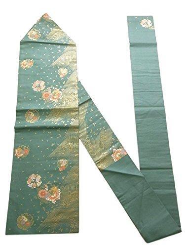 胚ブランド文明化リサイクル 名古屋帯  雪輪に蝶や花々 正絹