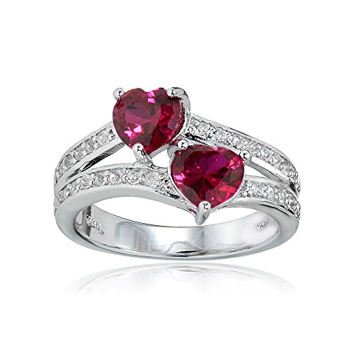 Ice Gems Sterling Silver Created Ruby and White Topaz Double Heart Friendship Ring, Size 8