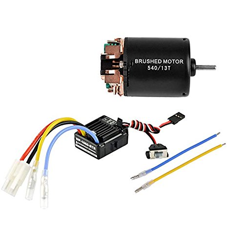 Battery Nimh Power Hi (540 13T 4 Poles Brushed Motor and WP-1060-RTR 60A Waterproof Brushed ESC Electronic Speed Controller with 5V/2A BEC for Axial RC4WD Cross HPI Mist GMADE D90 D110 TF2 SCX10 ii PG4 MC8 WARAITH Y (13T))