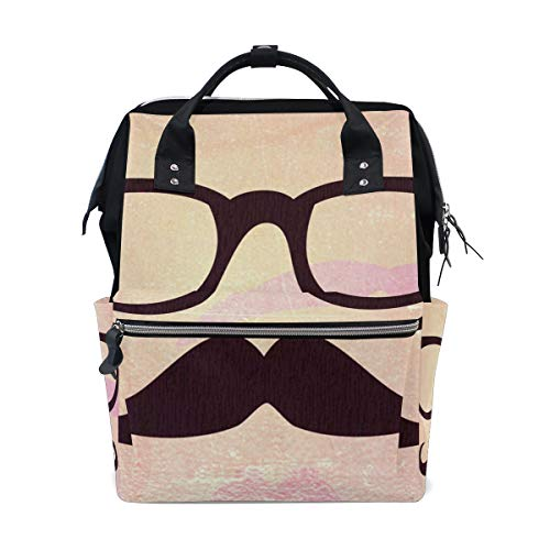 - Large Capacity Diaper Tote Nappy Bag Mummy Backpack for Baby Care,Glasses and Beard Print Multi-Function Waterproof Travel Back Pack Stylish for Mom and Dad