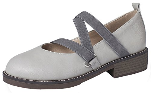 (Mofri Women's Comfy Elastic Strappy Round Toe Low Cut Slip on Block Low Heel Pumps Shoes (Gray, 9.5 B(M) US))