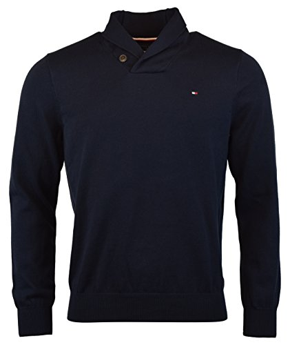 Tommy Hilfiger Mens Premium Cotton Shawl Neck Sweater (Small, Sky Captain Navy) by Tommy Hilfiger