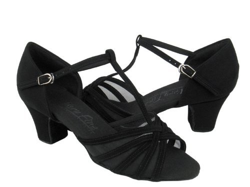 Damer Kvinner Ballroom Dans Sko Fra Veldig Fine C16612 Serie 1,6 Cuban Heel Sort Skinn Og Sort Mesh