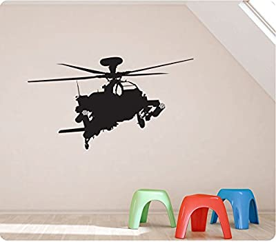 """36"""" Helicopter Chopper Military Apache Army Silhoute Wall Decal Sticker Art Mural Home Décor Quote"""