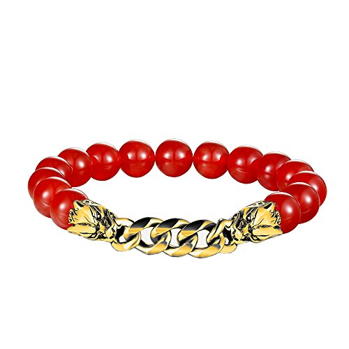 Solid Gold Wolf - FGA Men Women Stainless Steel Agate Stone Beads Elastic Bracelet Healing Power Jewelry Bracelet Link(Red Agate_Gold Wolf Heads)