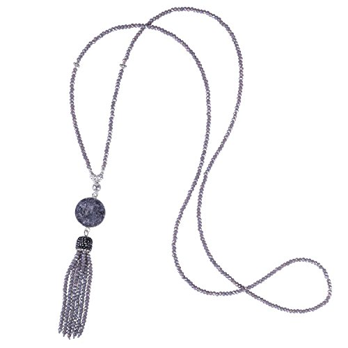 Beaded Necklace with Pave Crystal Capped Tassel-Delicate Crystal Tassel Necklace (Grey) (Pave And Crystal Necklace)