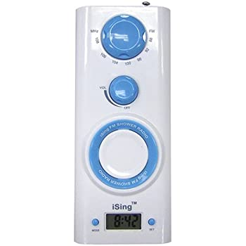 Zadro ISING FM Shower Radio With Digital Clock, Blue