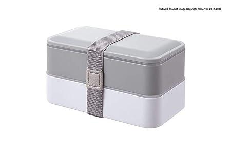 WUNH Lonchera 2 Niveles Bento Box BPA con Cubiertos Reutilizables ...