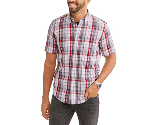 George Men's Wrinkle Resistant Poplin Button Down Short Sleeve Shirt (Small 34/36, Greystone ()