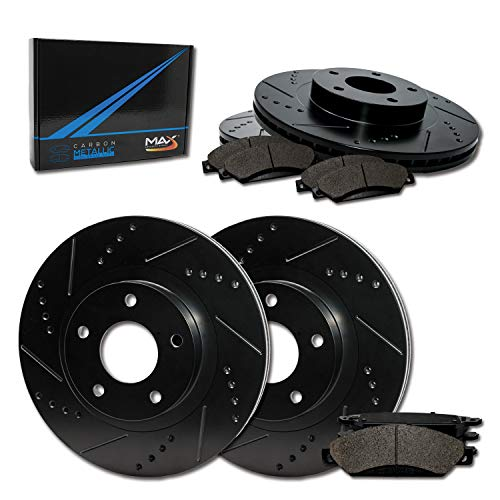 Max Brakes E-Coated Slotted|Drilled Rotors w/Metallic Brake Pads Front + Rear Elite Brake Kit TA039383 [Fits:2008-2012 Lexus ES350 Toyota Avalon | 2007-2011 Camry ()
