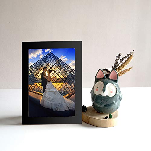 Diswoe 6x8 Black Picture Frame Made of Solid Wood with Mat to Display Pictures Photo Frame for Wall & Tabletop - Wall Mounting Material Included by Diswoe (Image #4)