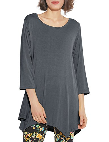 Asymmetric Sleeve Top - BELAROI Women 3/4 Sleeve Swing Tunic Tops Plus Size T Shirt (L, Deep Gray)