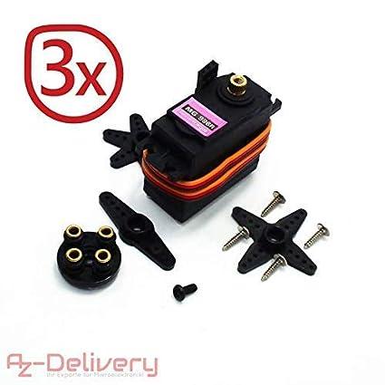 AZDelivery ⭐⭐⭐⭐⭐ 3 x SG90 Micro Servo Motor 9G para RC Robot Avi/ón Helic/óptero para Arduino con ebook Gratis!