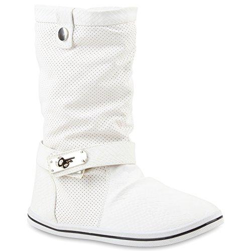 Bequeme Damen Stiefel Schlupfstiefel Lochungen Flache Boots Leder-Optik Metallic Schuhe Flandell Weiss Autol