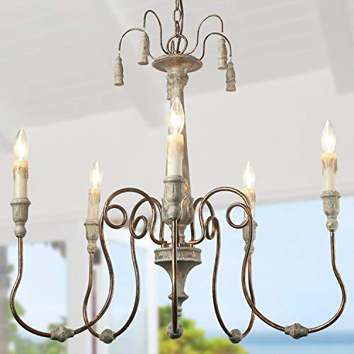 LALUZ French Country Chandeliers for Living and Dining Rooms, Distressed Finish Shabby Chic Lighting, A03299