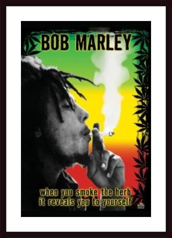 Bob Marley - Smoke Herb, framed black wood, white matte ()