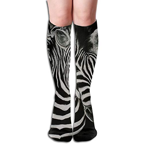 Bandnae 19.68 Inch Compression Socks Zebra Strip Animal High Boots Stockings Long Hose for Yoga Walking for Women Man ()