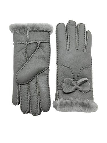 YISEVEN Women's Rugged Shearling Sheepskin Leather Gloves Cute Bow Mittens Sherpa Fur Cuff Thick Wool Lined and Heated Warm for Winter Cold Weather Dress Driving Work Xmas Gifts, Turquoise Green ()
