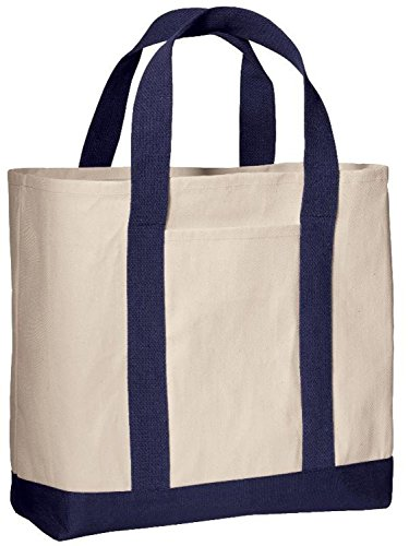 Pack of 3 - Heavy Duty Cotton Canvas Twill Travel Tote Bags Large Thick Reusable Blank Tote Bags - Shopping Grocery Bags Eco Friendly Canvas Bags in Bulk (Navy)